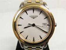 Men's LONGINES FLAGSHIP L4.716.3 QUARTZ WATCH Swiss S/S Gold Date NEW BATTERY