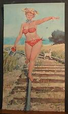 Bryers Hilda Cover Sheet 1969 Walking Rail Road Track Red Bikini Bucket Berries