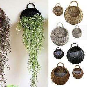 Wall Hanging Planter Plant Flower Pot Handmade Wicker Rattan Basket Home UK