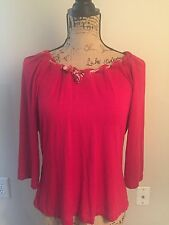 St. John Red And Gold Grommets and Scarf Shirt Top Sz L
