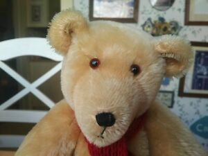 OOAK blond mohair Artist Teddy Bear by Robin 15in EUC