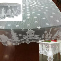 Christmas Table Cloth Cover White  Lace Tablecloth Home Party Xmas Dining Decor