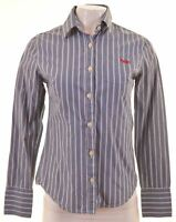 SUPERDRY Womens Shirt Size 6 XS Blue Striped Cotton IP01