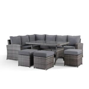 Jasmina Grey Garden Corner Sofa with Dining Table and 3 Stools Set