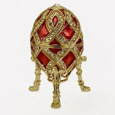 2.75'' EASTER ENAMELED RED EGG TRINKET BOX RUSSIAN TRADITIONS OF FABERGE