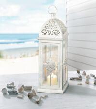 Laterne Barock Weiß Silber Metall Windlicht Kerzenhalter Shabby Landhaus 39cm