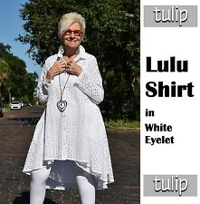 TULIP CV248 Cotton Hi-Lo Boyfriend LULU SHIRT Long XS S M L XL XXL WHITE EYELET