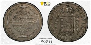 Brazil 1816 B 960 Reis Silver PCGS Counter stamped XF details