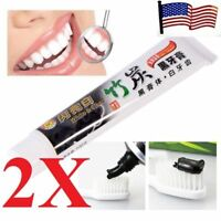 2x  Charcoal Teeth Whitening Black Toothpaste Removes Stain us seller fast ship