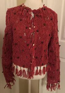 Bohemian Boho Hippie Knotted Fringe Wooden Beaded Jacket Cardigan Coral Medium