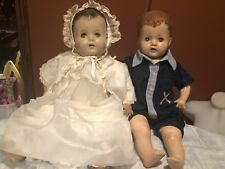 Estate vintage composition doll Lot Of 2 Chunky Large Dolls Brother & Sister