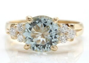 3.10 Carat Natural Aquamarine and Diamonds in 14K Solid Yellow Gold Women Ring