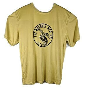 Gold Workout Shirt Mens Size XL Yellow Russell Short Sleeve Tee Eagle Earth