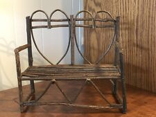 "Miniature Bent Wood Heart Bench (5"" x 10 1/4"" x 9 3/4"")"