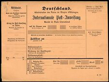 GERMANY INTERNATIONAL  ANWEISUNG  MINT POSTCARD  WITH SIDE SECTION  SHOWN