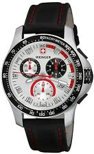 WENGER SWISS CHRONOGRAPH SILVER DIAL BLACK LEATHER STRAP MEN'S WATCH 70791 NEW