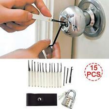 15Pcs Unlocking Lock Pick Set Key Extractor Transparent Padlock