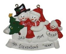 Personalized Snowman Family of 3 Christmas Ornament