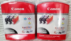 NEW Genuine Canon BCI-6 Printer Ink Sealed Packages 2-Cyan, 2-Magenta, 2-Yellow