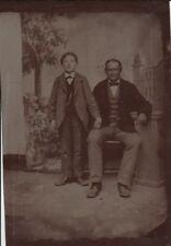 Fotografie,Ferrotypie Mann mit Kind, auf  Eisenplatte, vor 1900