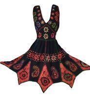 Boho Knee Length Dress Hippy Batik Pixie Hem Black Orange One Size 12 14 16