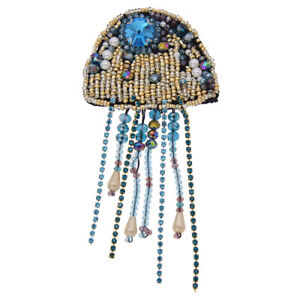 Jellyfish Rinestone Beaded Patches Sew on Applique Sequin Badge Clothing Sewing