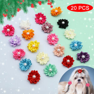 20pcs Flower Dog Hair Bows wuth Rubber Bands Small Dogs Hair Clips Accessories