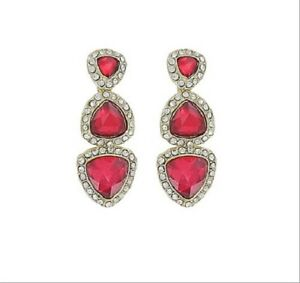 GLAMOROUS CLEAR CRYSTAL AND FACET CUT RUBY RED RHINESTONE EARRINGS - CLASSY!