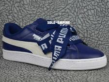 Puma Basket Heart DE Women's 364082-02 Navy Blue White Classic Bow