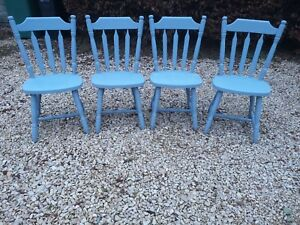 HAND PAINTED SOLID ELM FARMHOUSE DINING CHAIRS IN BESPOKE COLOUR OF SKY GRAY