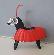 PLAYMOBIL (L5214) MOYEN-AGE - Cheval avec Casque & Parure Rouge 3265 Vintage