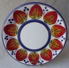 """GORGEOUS VINTAGE ITALIAN HAND PAINTED STRAWBERRIES PLATE 10-3/8"""" D"""