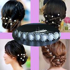 2pcs Wedding Bridal Party Crystal Pearl Floral Design Hair Pins Clips Hairpins