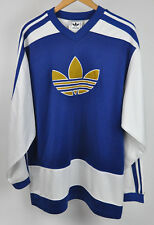 ADIDAS Hockey JERSEY Pullover SWEATER Trefoil NAVY Blue GOLD White 3 Stripe XL