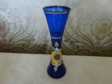 Vintage Retro Blue Art Glass Vase Hand Painted Gold Floral Slim 20cm Tall