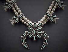 "Signed Zuni Petit Point Sterling Silver Squash Blossom Necklace 22"" NS919"