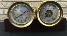 """Vtg Chelsea Shipstrike Clock & Barometer Set 4-1/4"""" Brass Maritime Nautical"""