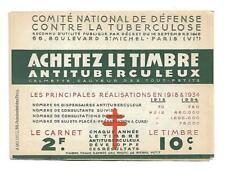 carnet timbre vignette antituberculeux tuberculose anti-tuberculosis 1934 stamp