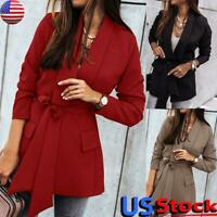 Womens Windproof Slim Coat Blazer Suit Ladies Office Work Jacket Belted Outwear