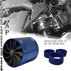 "2.5"" Cold/Air Intake Short Ram Tornado Supercharger Gas Fuel Saver Dual Fan Blue"