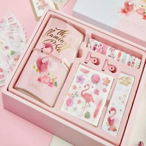 Flamingo Bird Travellers Notebook Set Gift Boxed Notebook Stationary Kids Adults