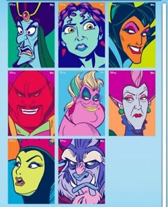 TOPPS DISNEY COLLECT FACE VALUE  VILLAINS SERIES 1 FULL RARE SET WITH AWARD