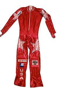 USA Ski Team Spyder One Piece Ski Snow Suit Slalom Competitive Sponsors Swiss
