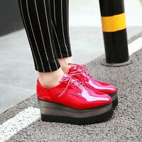 New Women Wedge High Heels Platform Creeper Shoes Lace Up Patent Leather Sneaker
