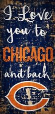 """Chicago Bears I love you to and Back Wood Sign - NEW 6"""" x 12"""" Wall Decoration"""