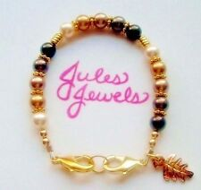 "Top Brand Pearls ""Browns"" Medical Alert ID Bracelet GOLD! Great Gift!"