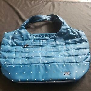 Lug Gondola XL Slouch Tote Shoulder Bag teal blue w Insulated Pouch polkadot