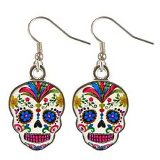 Day of the Dead Dia De Los Muertos White Epoxy Skull Earrings Jewelry