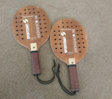 2 Sportcraft THE CONTENDER Wood & Leather PADDLEBALL RACQUET Model 13149 Vintage