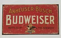 Bud Budweiser Beer Anheuser Busch Brewery Red Metal Tin Sign Vintage Bar Pub New